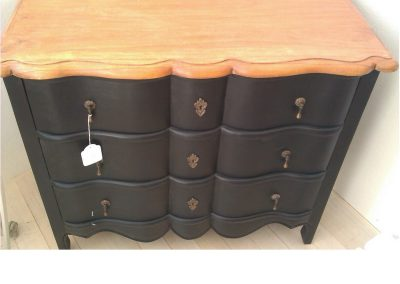 Parisienne black and timber top chest of 3 draws