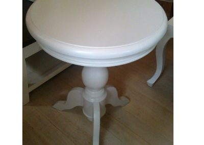 Small white round table