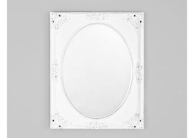 Mirror distressed white oval