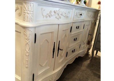 White Carved Bathrron Furniture - Marble Top