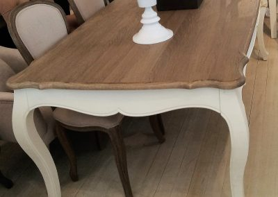 French Provincial Dining Table Oak Top - White Legs
